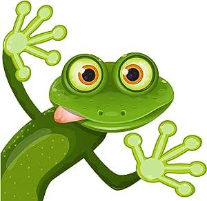 Etaia Premium Aufkleber 10x10 Cm Lustiger Frosch Rechts Frog Kröte Frösche Fun Gag Cartoon Kinder Sticker Auto Bike Motorrad Auto