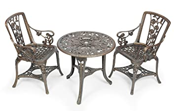 gablemere 2 seater plastic rose design patio set with round bistro table in antique bronze - Bistro Table Sets