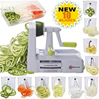 Brieftons   Spiralizzatore a 10 lame  affettatrice a spirale per verdure  per spaghetti a basso contenuto di carbo paleo glutine  con contenitore per lame  contenitore  coperchio e 4 eBook di ricette