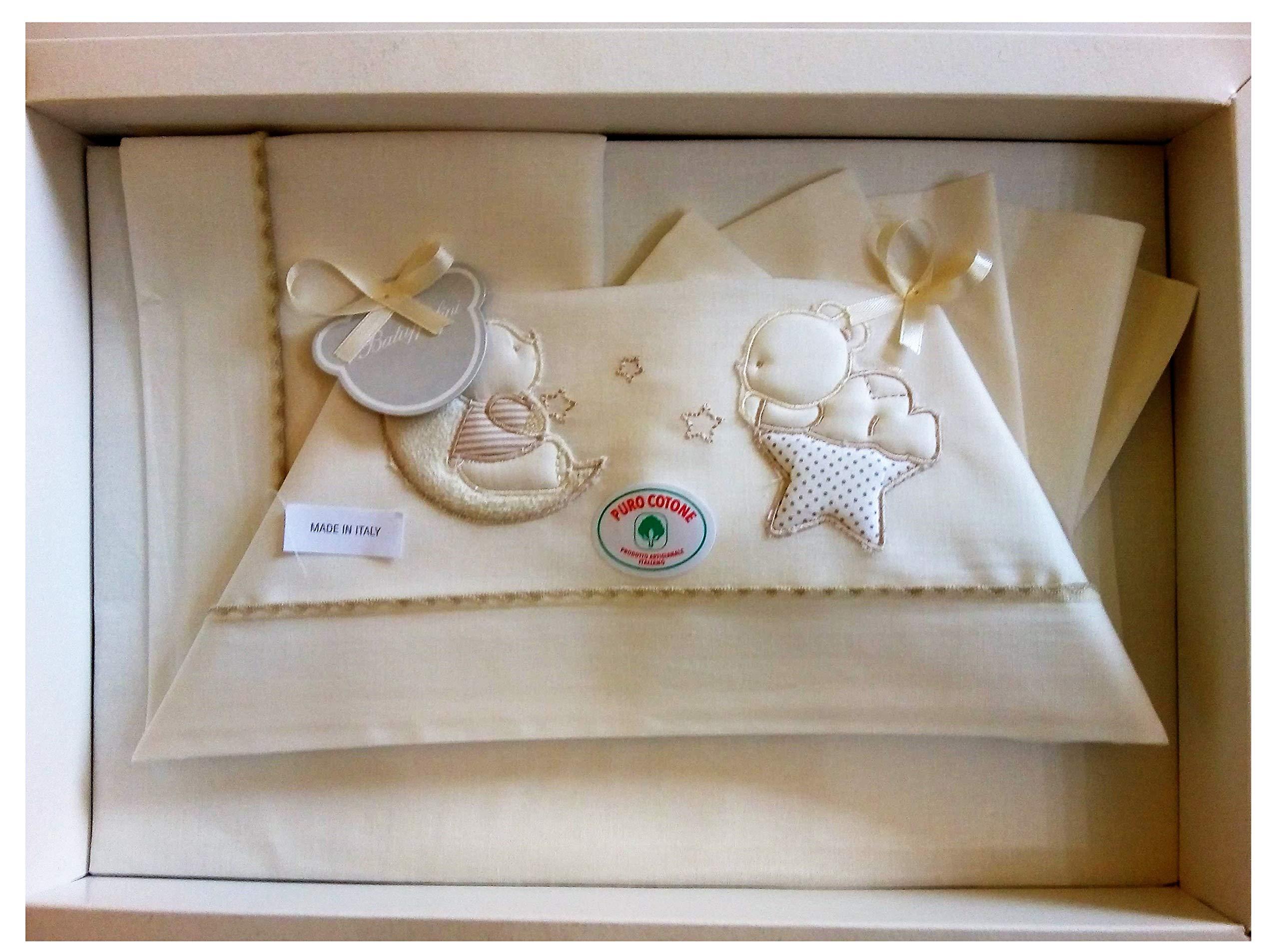 Set completo pezzi lenzuola per culla e carrozzina colore bianco