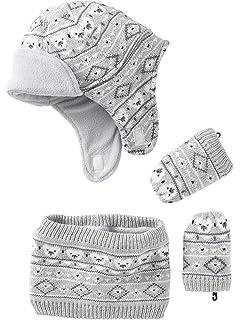 05f87460960 VERTBAUDET Bonnet + snood + moufles bébé tricot doublés polaire Gris clair  chiné 24 36M