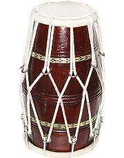 Sai Musical Solid Wood HM-0128 Hand Made Sheesham Wood Dholak- Brown