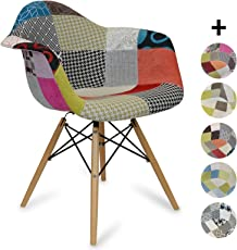 Supertrends Sedia DAW Style Patchwork - Classic - Stile Scandinavo - 62.5 cm x 63 cm x 81 cm - ZOLOFORNITURE