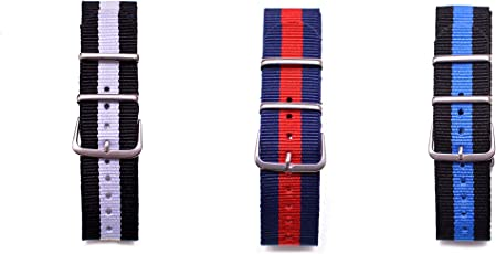 Watch Me Nato Multicolored Straps (Only Straps) 22 Mm Except Black Strap-20 Mm,Military Strap -20 Mm - Myow-Bk-W-Bu-R-Bk-Bu
