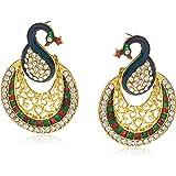 Sukkhi Glamorous Gold Plated Wedding Jewellery Austrian Diamond Peacock Meenakari Dangle Earring for Women (6109EADP680)