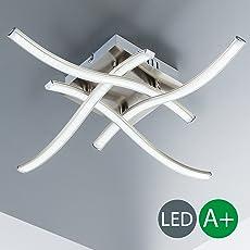 Plafoniera LED da soffitto I lampada moderna con braccia luminose a soffitto per l'illuminazione da interno I 4 luci bianche I corpo metallo, color nickel opaco I piastre LED da 3,4 W I 230 V I IP20