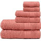 TRIDENT Juego Toallas - Soft & Plush - 100% algodón, 500 gsm, 6 Pieza Juego Toallas - 2 Toallas de baño, 2 Toallas de Mano, 2