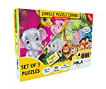 Pola Puzzles Jungle Puzzle Combo 3 in 1 Gift Pack 60 Pieces Tiling Puzzles , Puzzles for Kids Age 5 Years and Above. Size...