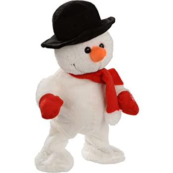 WeRChristmas Walking/Dancing and Singing Snowman Christmas Decoration, 30 cm