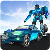 Cruiser-Transformator-Roboter, der Stadt-Held kämpft