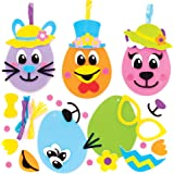 Baker Ross AT470 påskägg roliga ansiktsprydnadssatser – paket med 8, nya leksaker för barn, perfekt fest, tomten eller prisvä