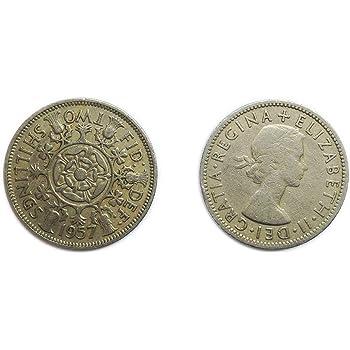 Münzen Für Sammler Circulated Briten 1957 Florin Two Bob Bit 2
