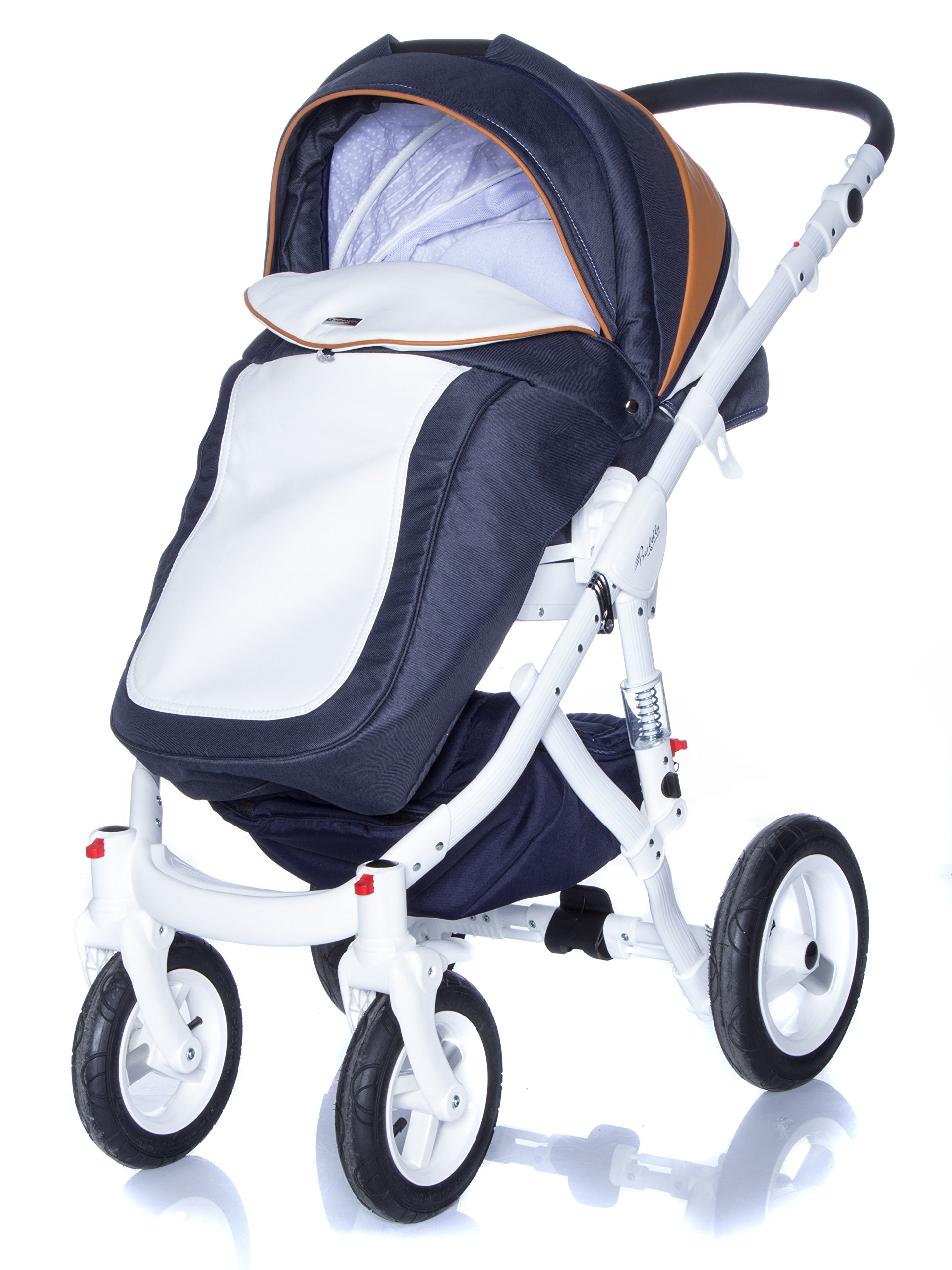 Baby Pram Pushchair Stroller Buggy, Travel System Adamex Barletta New B7 Fox-Navy-White 2in1 + ADAPTORS for CAR Seats: Maxi-COSI CYBEX KIDDY Be Safe Adamex Lockable swivel wheels and lockable side suspension system Light alluminium chassis with polyurethane wheels 2 separate modules + car seats adapters - big and deep baby tub functional sport seat and car seats adapters that can be attached to the following car seats: Maxi-Cosi: City, Cabrio fix, Pebble Cybex: Aton Kiddy: Evoluna i-Size, Evolution Pro 2 Be Safe: iZi Go 5