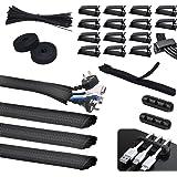 SOULWIT 134 Stks Kabel Management Kit, 4 Kabel Tubing Sleeve, 3 Siliconen Kabelhouder, 10+2 Roll Kabel Organizer Riemen, 15 G