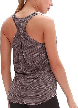 icyzone Dos Nageur Débardeur de Sport Femme - T-Shirt sans Manches Tops Exercice Yoga Running décontracté