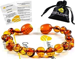 Ambre Bracelet 14 cm. - 100% Plus Haute Qualité Certifié l'Ambre la Baltique Authentique Perles de plus gros!! /Taille 14 cm (Cognac)