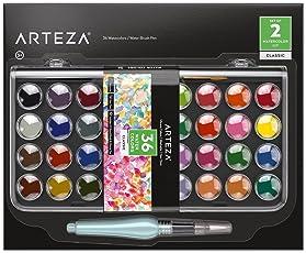 Arteza Classic Wasserfarben Künstler-Set — Aquarellfarben-Set mit 36 Wassermalfarben mit Wasserfarben-Pinselstift