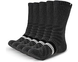 Gozlu 5 Paires Chaussette Hommes de Sport, Anti-Ampoules Chaussette en Coton Respirant pour Running, Randonnée, Camping, Marc