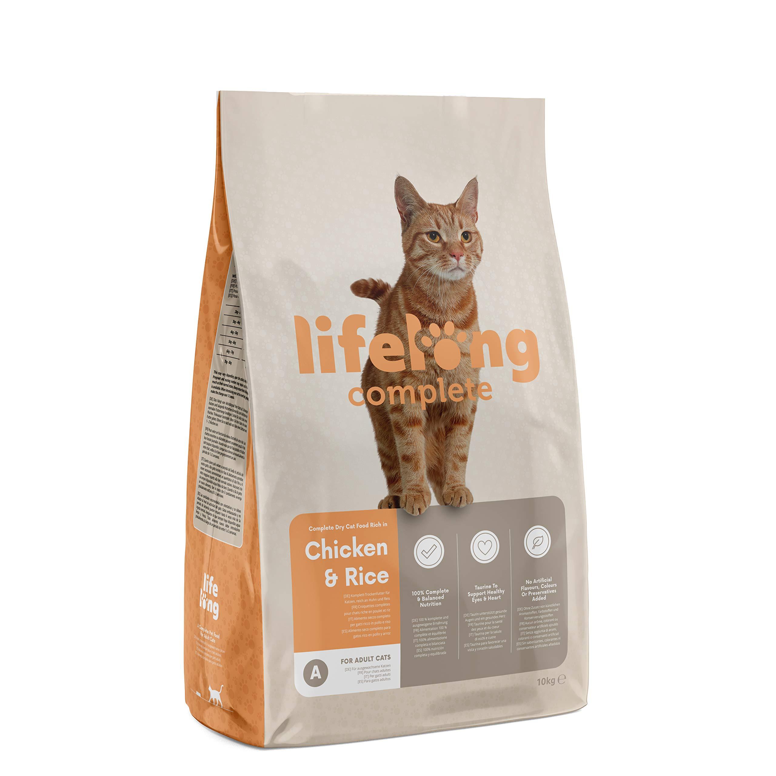 Marca Amazon – Lifelong Complete- Alimento seco completo para gatos adultos rico en pollo y arroz, 1 x 10 kg