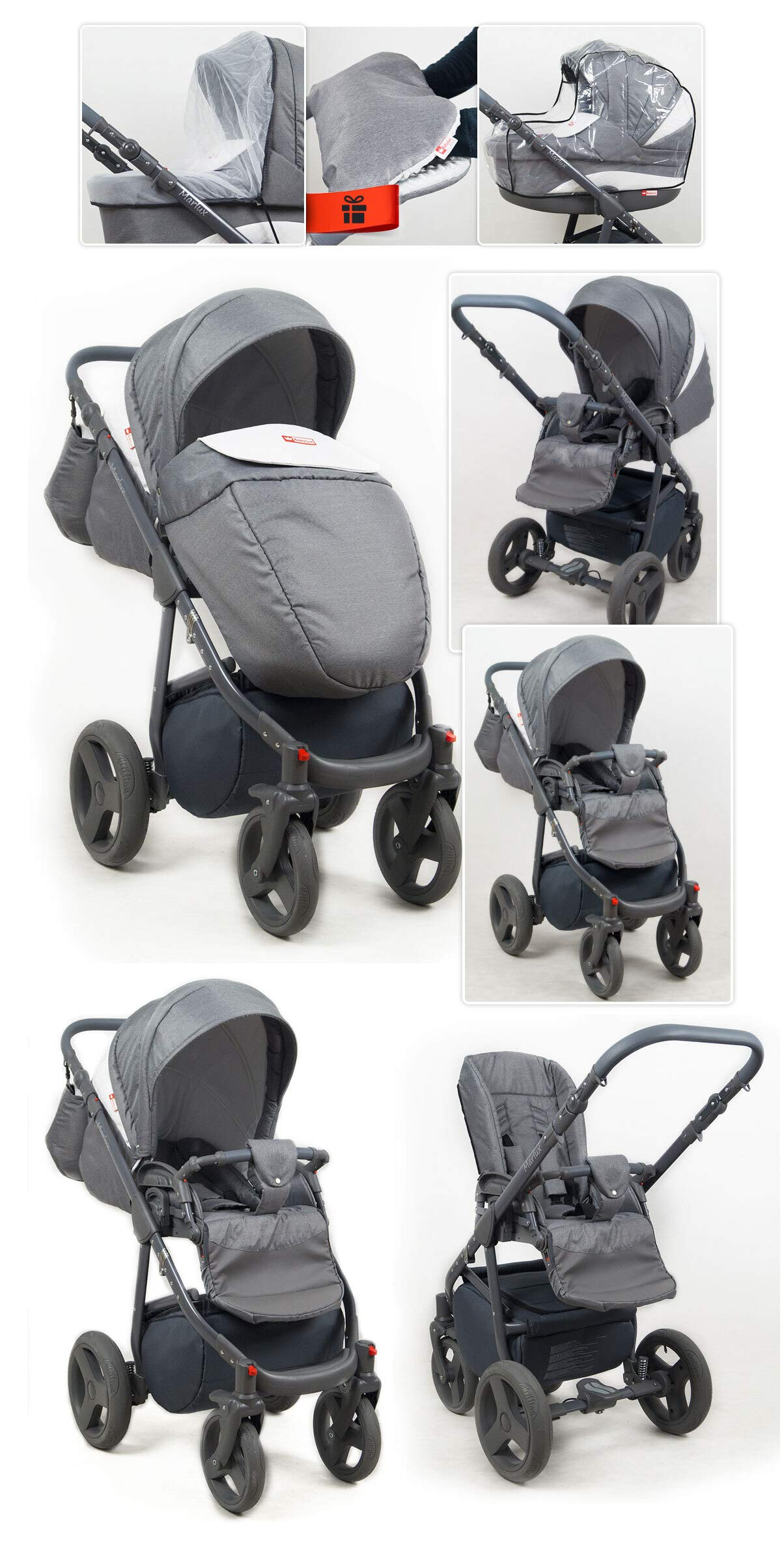 Travel System Stroller Pram Pushchair 2in1 3in1 Set Isofix Marley by SaintBaby Plum 2in1 Without Baby seat SaintBaby 3in1 or 2in1 Selectable. At 3in1 you will also receive the car seat (baby seat). Of course you get the baby tub (classic pram) as well as the buggy attachment (sports seat) no matter if 2in1 or 3in1. The car naturally complies with the EU safety standard EN1888. During production and before shipment, each wagon is carefully inspected so that you can be sure you have one of the best wagons. Saintbaby stands for all-in-one carefree packages, so you will also receive a diaper bag in the same colour as the car as well as rain and insect protection free of charge. With all the colours of this pram you will find the pram of your dreams. 5