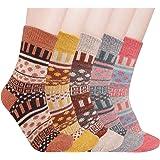 5 pares de calcetines térmicos de punto, gruesos, cálidos, multicolor, transpirables de invierno para mujer