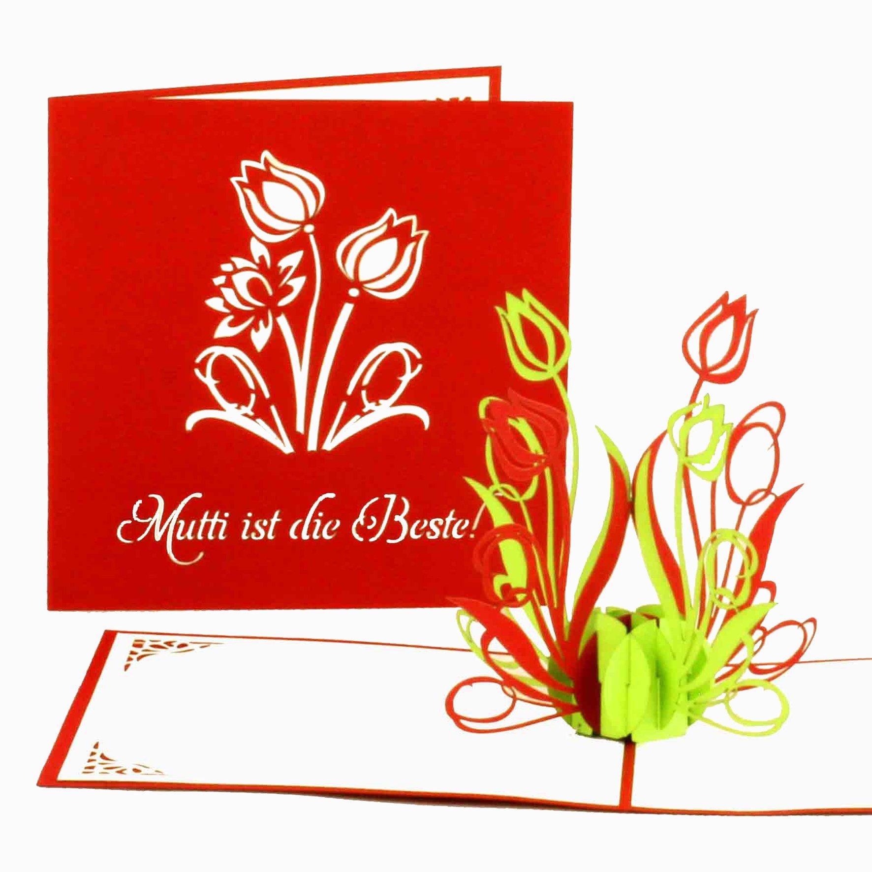 Pop Up Karte Muttertag.Muttertagskarte Mutti Ist Die Beste 3d Pop Up Karte Grusskartenkaufen De