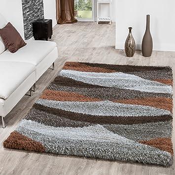 Shaggy Hochflor Teppich Wohnzimmer Welle In Beige Braun Creme