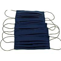 5 Mascherine artigianali blu in doppio strato di puro cotone con tasca per inserimento ulteriore protezione(elastici…