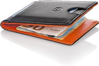 Premium Geldbörse mit Geldklammer – Schlanker Geldbeutel 6 Kartenfächer – Portemonnaie Herren – Kreditkartenetui und Brieftasche RFID – Slim-Wallet