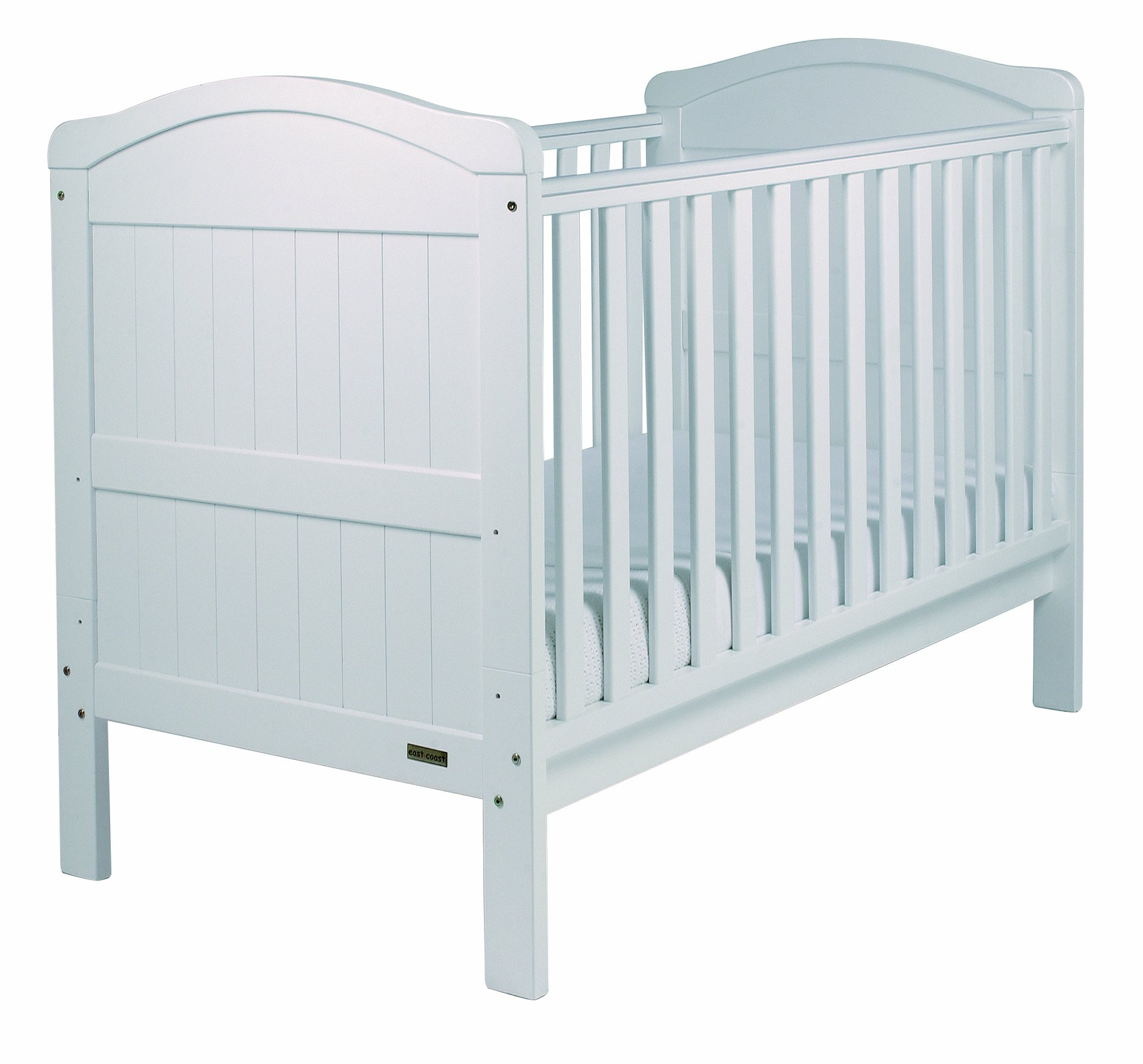 East Coast Country Cot Bed (White) East Coast Nursery Ltd 2 protective teething rails 3 base heights 2 fixed sides 1
