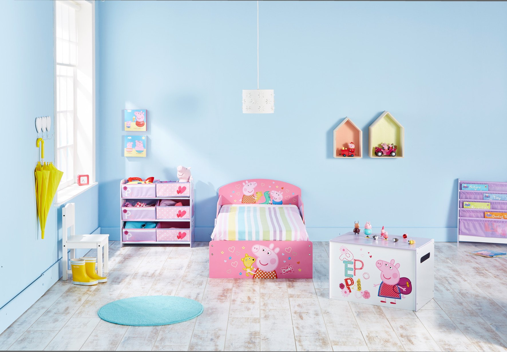 Peppa Pig Kids Toddler Bed by HelloHome Peppa Pig. Snuggle in after a day of play in this Peppa Pig Toddler Bed Perfect size for toddlers, low to the ground with protective and sturdy side guards to keep your little one safe and snug Fits a standard cot bed mattress size 140cm x 70cm, mattress not included. Part of the Peppa Pig bedroom furniture range from HelloHome 10