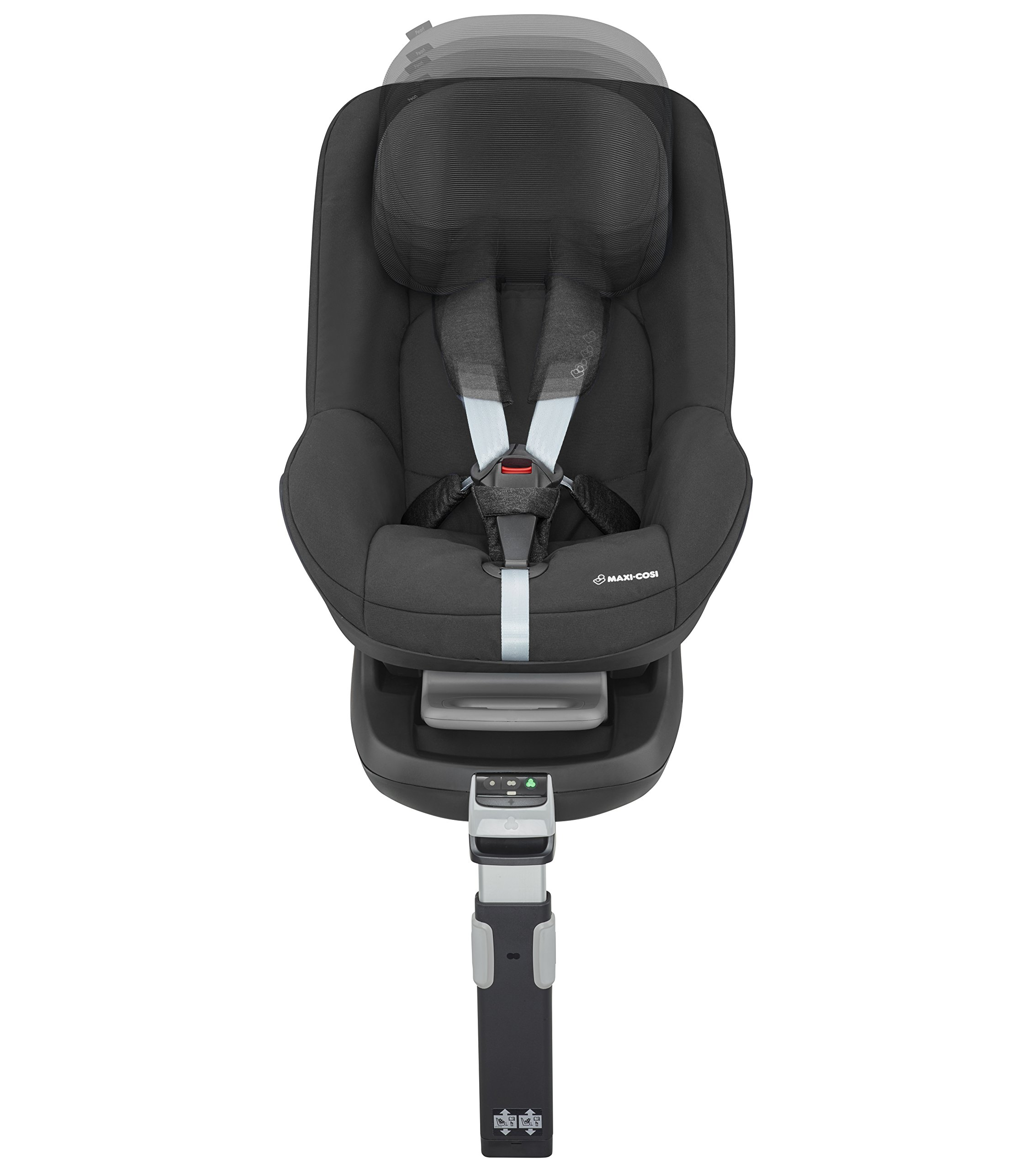Maxi-Cosi Pearl Toddler Car Seat Group 1, ISOFIX Car Seat, Compact, , 9 Months - 4 Years, 9-18 kg, Nomad Black Maxi-Cosi Interactive visual and audible feedback when the pearl is correctly installed with the maxi-cosi family fix base in the car Spring-loaded, stay open harness to make buckling up your toddler easier as the harness stays out of the way Simultaneous harness & headrest adjustment can be operated with one-hand 7