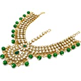 The Luxor Traditional Gold Plated Stylish Bridal Wedding Maang Tikka for Women & Girls