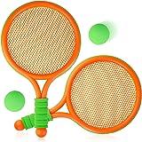 COSYOO Kids Tennis Rackets Plastic Racket Set of 4 with Tennis Balls Outdoor Garden Beach Sport Game Toy for Boys Girls