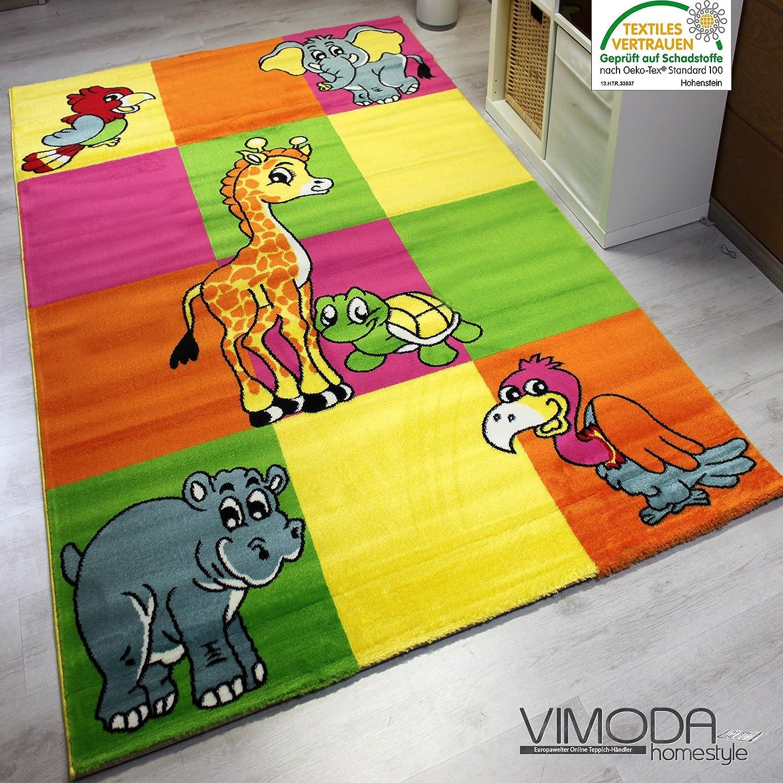 Teppich bunt modern  Kinderteppich Modern Zoo Kinder Teppich Giraffe Elefant in Bunte ...