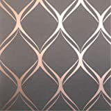 Clifton Wave Metallic Geometric Wallpaper Charcoal/Copper World of Wallpaper WOW41963
