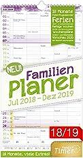 FamilienPlaner 2018/2019 23x42cm, 5 Spalten, Wandkalender 18 Monate Juli 2018-Dezember 2019 - Wandplaner, Familienkalender, Ferientermine, viele Zusatzinfos