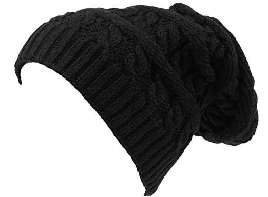 869c5f4bee4 Sakkas 16149 - Figaro Long Tall Classic Cable Knit Faux Fur Lined Unisex Beanie  Hat - Black - OS  Amazon.co.uk  Clothing