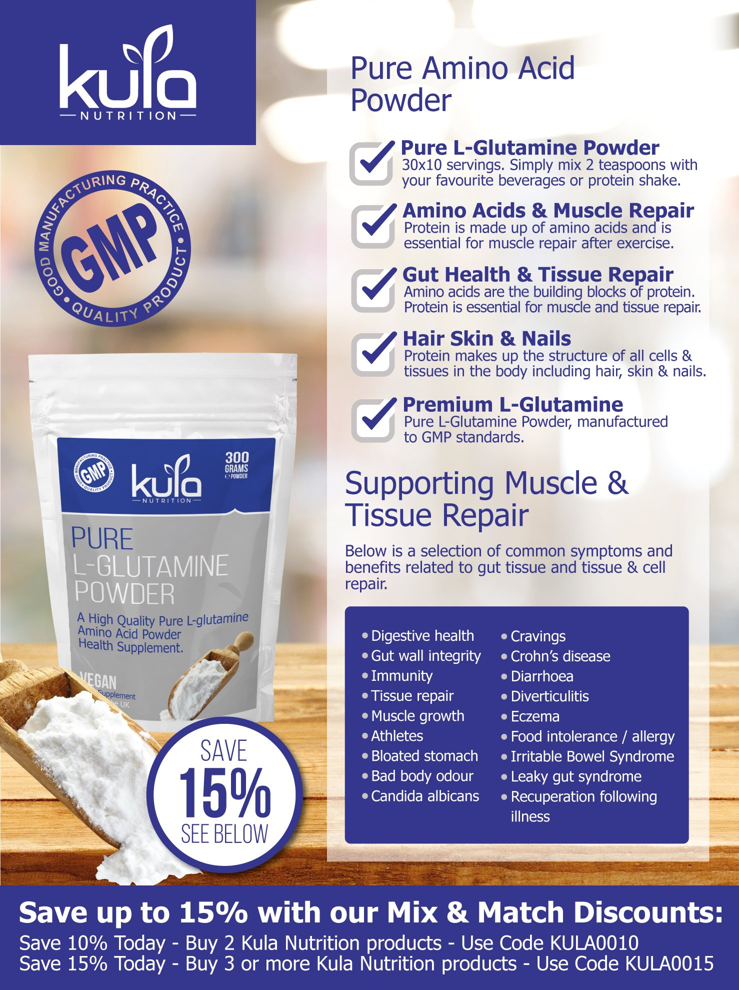 81ZmEN9oBFL - Kula Nutrition Pure L Glutamine Powder - 300g (60 Servings) - Amino Acid Powder, Protein Building Blocks - Supplement…