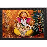 Saumic Craft Ganesha Riddhi Siddhi UV Coated Framed Painting For Home Decoration And Gifting With A Free Special Present Insi