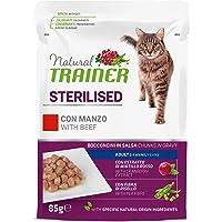 Natural Trainer Sterilised - Cibo Umido per Gatti Adulti Sterilizzati con Manzo e Fibra di Pisello - 12 Buste x 85gr…