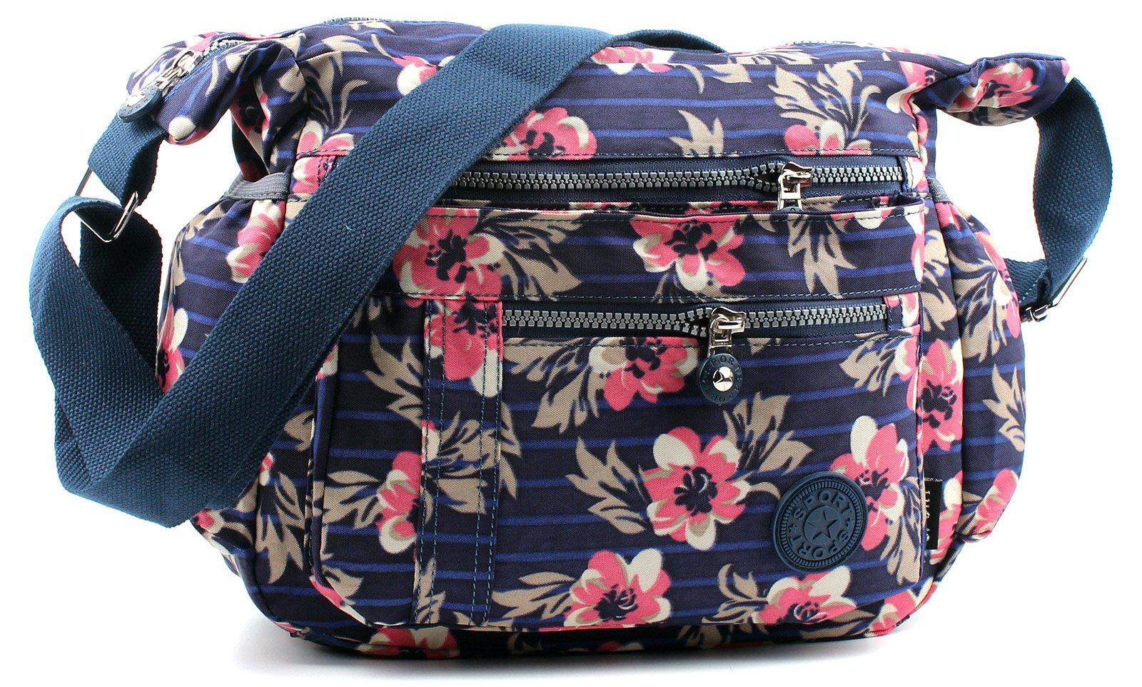 d5a239682f25 Aossta Fabric Multi Zip Pockets Cross Body Messenger Long Shoulder ...