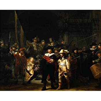 """NIGHT WATCH rembrandt canvas art print 16""""x20"""" standard framed and ready to hang"""