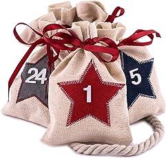 Pajoma Adventskalender Desgin wählbar - 24 nummerierte Jutebeutel - zum Befüllen und aufhängen, Weihnachten