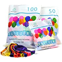 Party Balloons Premium Assorted 100% NATURAL LATEX Multicoloured Packs of 25 50 100 Quality Bright Metallic Balloons Suitable for Birthday Parties, Weddings, Anniversaries and Celebrations