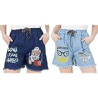 WILFREDO Dark Blue APNA TIME AAYEGA & Light Blue Summer Rough Look Denim Shorts for Women's (Pack of 2)