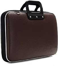GLEAM Synthetic Sleek Faux Leather 15.6-Inch Briefcase ,Laptop ,Messenger ,Tablet and Executive Office Bag Dark Brown with Belt