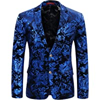 Allthemen Men's Casual Blazer Paisley Jacquard Suit Jackets Slim Fit Floral Print Stylish Blazer Coats Chic Jackets