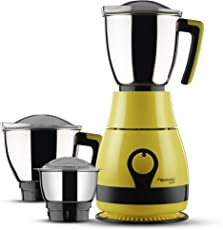 Butterfly Pebble 600-Watt Mixer Grinder with 3 Jars (Yellow)