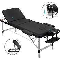 MARNUR Table de Massage Pliante 3 Sections Avec Cadre en Aluminium,Lit de Massage Portable à Hauteur Réglable avec Repose-tête Ergonomique pour le Massage Spa Tatouage et les Soins du Visage